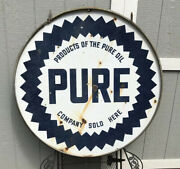 Vintage 42andrdquo Pure Gas Porcelain Sign With Bracket Made In Burick Chicago
