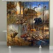 Laural Home Forest Collage Shower Curtain Brown, Blue 71 X 72