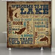 Laural Home Fish Tales Shower Curtain Brown Blue