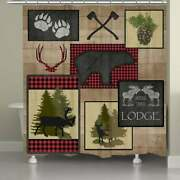 Laural Home Wooded Lodge Shower Curtain Brown 71 X 74