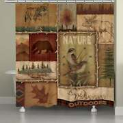 Laural Home Nature Lodge Collage 71 X 72-inch Shower Curtain Brown 71 X 72