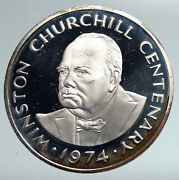 1974 Turks And Caicos Uk Winston Churchill Old Proof Silver 20 Crown Coin I90945