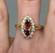 1.28 Ctw Ruby And Diamond Halo Ring 14k Gold Navette Silhouette