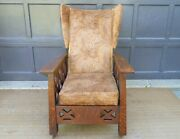 Antique Arts And Crafts Mission Oak Wingback Craftsman Recliner Morris Chair