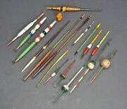 Fishing Quill Float Bobbers Lot Of 17 Antique Vintage Lures Some New Some Old