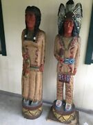 Two Cigar Store Wooden Indians Each Approximately 6 Foot Tall Decent Condition
