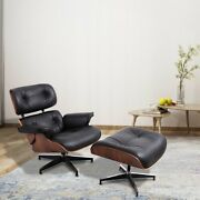 Black Real Leather Lounge Chair For Living Room Armchair W/ottoman Footstool