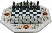 White Marble Chess Table Top Indoor Game Marquetry Art Perfect Gift For Birthday