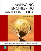 Managing Engineering And Technology, Hardcover By Morse, Lucy C. Schell, Wil...