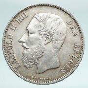 1868 Belgium With King Leopold Ii And Lion Vintage Silver 5 Francs Coin I90875