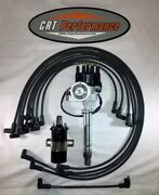 Sb Chevy Sbc Small Cap H.e.i Hei Distributor Kit W/ Plug Wires And Canister Coil