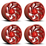 Set 4 22 Fuel D754 Reaction 22x12 Candy Red Milled 8x180 Truck Wheels -44mm