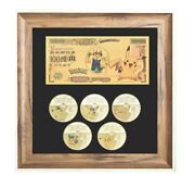 Pokemon X5 Pikachu Gold Plated Collectible Coins Card And Note Full Set In Frame