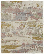 9x13 Kalaty Ivory Abstract Distressed Layered Area Rug Po-018 - Aprx 9and039 6 X 13and039