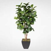 Artificial Silk Fiddle Leaf Tree With Natural Trunk In A Modern And Contemporary