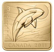 Canada 2011 3 Pf Gold Plated Killer Whale Orca Square Formed Coin