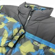 Lacoste Sport Menand039s Geometric Green Blue Full Zip Quilted Printed Puffer Jacket