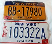 Vtg Lot Of 2 New York State License Plates Statue Of Liberty Trailer 1999 2000