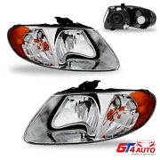 Headlight Pair For And03901-07 Dodge Grand Caravan Chrysler Town And Country Chrome