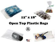 12x18 Clear Poly Plastic 1-mil Bags T-shirt Apparel Packaging Open Top Baggies