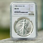 1986 American Silver Eagle 1st Year 1 Dollar Ngc Ms70....brown Label Beauty