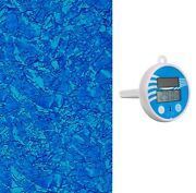 21' Round Blue Stardust Above Ground Overlap Swimming Pool Liner +thermometer