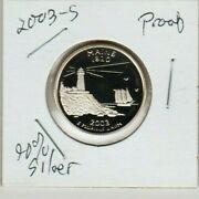 2003 S Maine Proof 90 Silver State 1820 Quarter Lighthouse Pemaq Low Mintage St