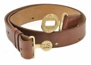 Ww2 Leather Us Officers Belt With Oak Leaves