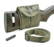 Usgi Ww2 .30 M1 Carbine Sling Oiler And Buttstock Pouch Od Green Dated 1944
