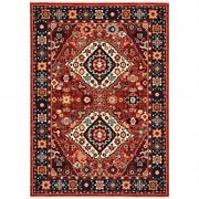 9and039 X 12and039 Red Blue Machine Woven Oriental Indoor Area Rug