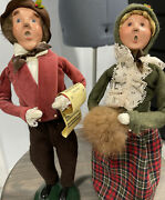 """2 Vintage Byer's Choice """"the Carolers"""" Victorian Couple Both Signed And Numbered"""