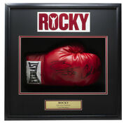 Sylvester Stallone Carl Weathers Signed Right Everlast Glove Shadowbox Bas Loa