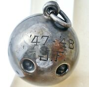 Bowling Ball Charm Sterling Silver For Bracelet Or Necklace 1947 - 48 Vintage
