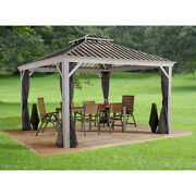 Gazebo 12and039 X 14and039 Pool Patio Sun Shelter Steel Roof With Mosquito Netting Taupe