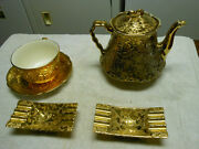 Gold 22kt Bel-terr China Tea Kettle Myrtle Otto Cup Ashtrays Saucer