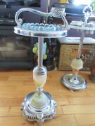 42 Ashtray Blue Blown Glass And Foot Base Marble Onyx 28 Inches Tall