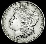 1887-p Morgan Silver Dollar. Full Chest Feathers. Bu Inventory A