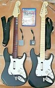 Rock Band 4 Ps3 Ps4 Ps5 2x Guitars Fender Dongles Beige Wooden Playstation