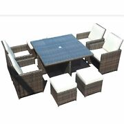 101 X 49 X 45 Brown 9piece Square Outdoor Dining Set With Beige Cushions
