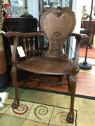 Antique Victorian Carved Wood Arm Chair Claw Foot Stickley And Brandt