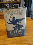 Rexglo Rare Advertising Tin Can Winged Lion Graphics Floor Wax Oil Antique Vtg