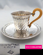 Bointaburet Rare Antique 1890s French Sterling Silver Coffee Cup And Saucer 222g