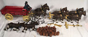 Antique Budweiser Cast Iron Vtg Beer Wagon And Clydesdale Horses, Kegs, 2 Drivers
