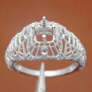 Vintage Antique Jewelry Engagement Fine Ring 5mm Cushion Cut Sterling Silver 925