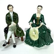 Vintage Royal Doulton Porcelain Figurines Andbull Lady And Gentleman From Williamsburg