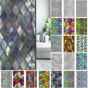 Rainbow Privacy Window Film Stained Glass Stickers Static Cling Frosted Decor Us