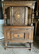 Jacobean Style Antique English Carved Cupboard Cabinet 1930s