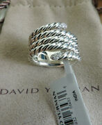 David Yurman Willow Serpent Pave Diamond Cable Sterling Silver Ring 7 Nwt