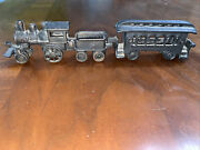 Vintage Cast Iron Toy Train Locomotive, Coal And Passenger Cars Used