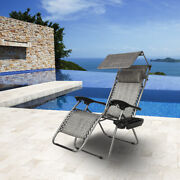 Zero Gravity Lounge Chair With Awning Leisure Chair Perfect For Backyard Beach